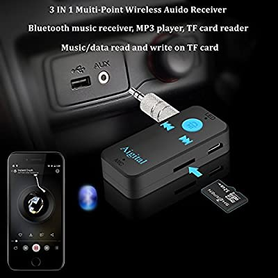 【New Version】Bluetooth Receiver V4.1 Wireless Audio Music Adapter A2DP Support TF Card with Hands-Free Calling and 3.5mm stereo jack for Home and Car Audio System Mic Build Battery