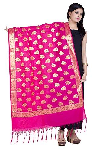 Chandrakala Women's Handwoven Pink Cutwork Brocade Banarasi Dupatta Stole Scarf,Free Size (D143PIN) - Silk Scarf Brocade