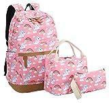 Bookbag Girls School Backpack Cute Schoolbag fit 15inch Laptop Insulated Lunch bag for Teens Boys Kids Travek Daypack (Unicorn Pink 1)