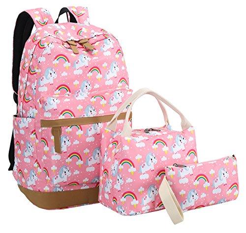 Bookbag Girls School Backpack Cute Schoolbag fit 15inch Laptop Insulated Lunch bag for Teens Boys Kids Travek Daypack (Unicorn Pink 1) by BTOOP