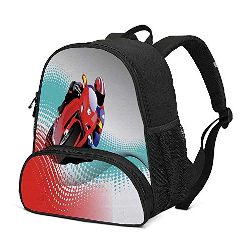 Motorcycle Durable Kids Backpack,Biker on Road Digital Dot Background Fast Extreme Risky Leisure Graphic Work for School Travel,10