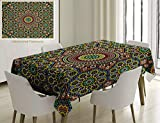 Unique Custom Cotton And Linen Blend Tablecloth Moroccan Decor Collection Aged Old Arabic Design Arabian Cultural Engraving Art History Tourist AttracTablecovers For Rectangle Tables, 86 x 55 Inches