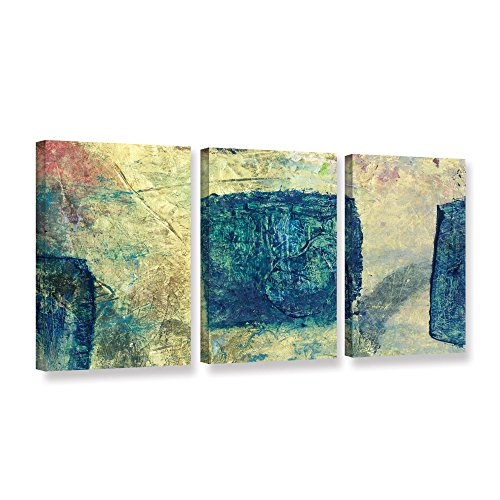 Art Wall Elana Ray's Blue Golds 3 Piece Gallery Wrapped Canvas Set, 24 x 48