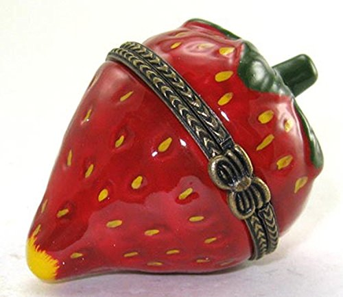 Shaped Hinged Box (Strawberry Shaped Hinged Lid Porcelain Trinket Box with Trinket Inside, By ArtGifts, 2