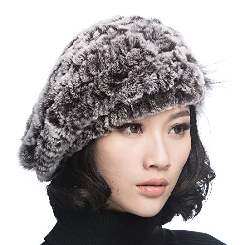 URSFUR Winter Women's Rex Rabbit Fur Beret Hats with Fur Flower (Coffee Color)