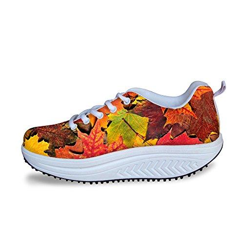Hugs Idea Colorful Leaf Pattern Womens Mesh Platform Sneakers Leaf4