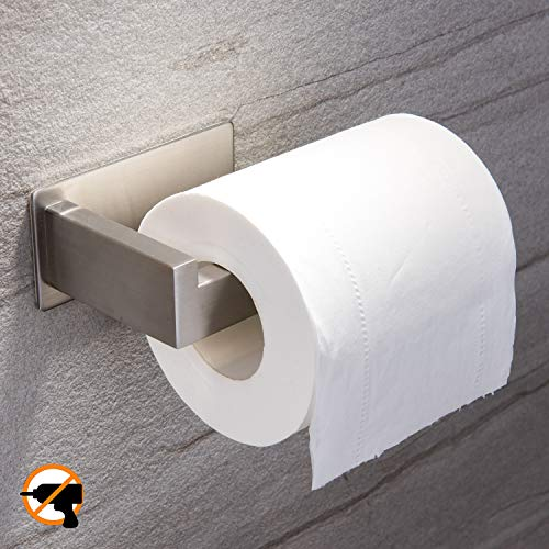 YIGII Toilet Paper Holder Adhesive - 3M Self Adhesive Toilet Tissue Holder for Toilet Roll Bathroom Stick on Wall Stainless Steel Brushed