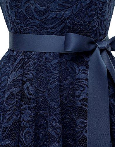 Floral Dress Navy Lo Cocktail Dress Women's Formal Hi V Lace Swing Bridesmaid Neck BeryLove AYZq5R