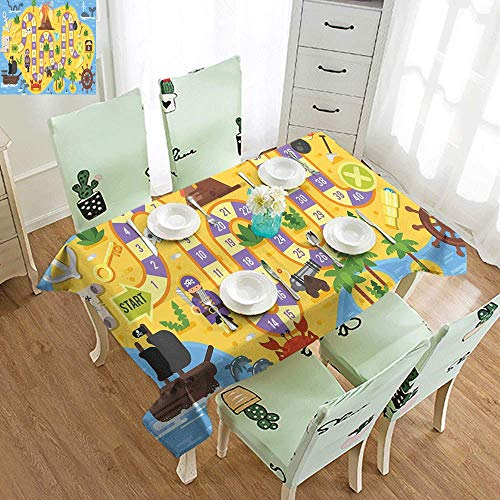 VICWOWONE Washable Table Cloth Kids Activity Finding Treasure of The Pirate Themed Board Game Style Colorful Island Map Soft and Smooth Surface W40 xL60 Multicolor