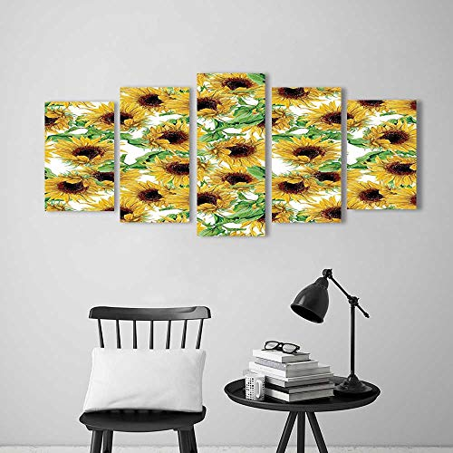 Collection Sunflower Wild (Wall Art for Living Room Decor 5 Piece Set Frameless Collection Dried Sunflowers Illustration Wildflowers Branch Herbarium Artistic Design Fine Art for Home Modern Decoration Print Decor)