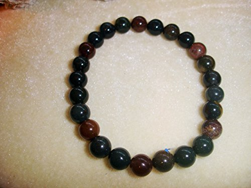 India Bloodstone 8mm Natural Beads Prayer Bracelet Chakra Balance Meditation