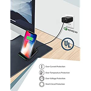 Wireless Charger, Seneo 046 Qi Certified 10W Fast Wireless Charger Stand for Galaxy S9/S9+ Note 8/5 S8/S8+, Standard Wireless Charging Pad Stand for iPhone Xs/Xs Max/XR/X/8/8+(with QC 3.0 Adapter)