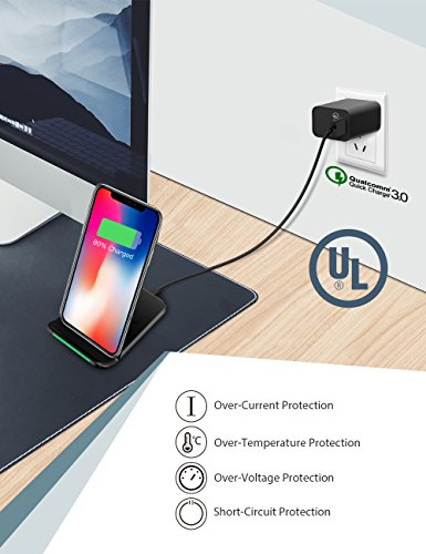Wireless Charger, Seneo Qi Certified 10W Fast Wireless Charger Stand for Galaxy S9/S9+ Note 8/5 S8/S8+ S7/S7 Edge S6 Edge+, 7.5W Fast Wireless Charging Pad Stand for iPhone X/8/8+(with QC 3.0 Adapter) by Seneo (Image #2)