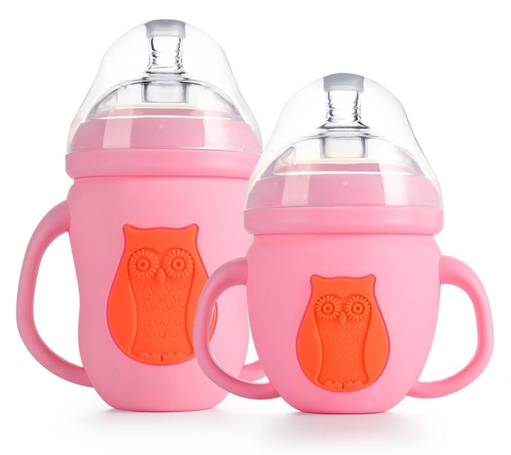Reizbaby Anti cólicos Vaso Biberón con Manga de Silicona y Paja para Bebés Pequeños Sin BPA 240ml+150ml (rosado): Amazon.es: Bebé