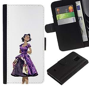 All Phone Most Case / Oferta Especial Cáscara Funda de cuero Monedero Cubierta de proteccion Caso / Wallet Case for Samsung Galaxy S5 Mini, SM-G800 // 50S Dress Purple Woman Black Hair Fashion