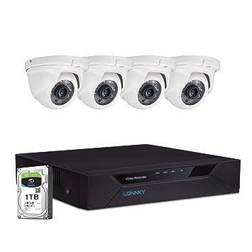 Amazon.com: LONNKY Sistema de Cámara de Seguridad, Full HD ...