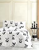 LaModaHome Cute Animals Bedding Set, 65% Cotton 35% Polyester - Little and Grown Up Panda, White and Black - Set of 3-100% Fiber Filling Coverlet and 2 Pillowcases for Full Bed