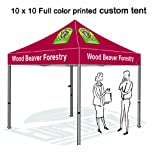 Eurmax Custom Printed Canopy 10x10 Custom Full Color Imprinted Tent , Commercial Pop Up Tent, Custom Printed Canopy with Custom Logo, Bonus Roller Bag
