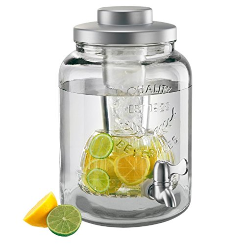 - Artland 10402 Mason ware Beverage Jar With Chiller & Infuser, 2 gallon, Clear