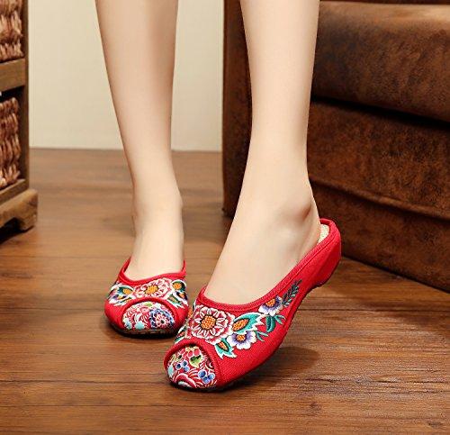 casuali DESY comodi femminile moda etnico stile Red infradito scarpe sandali unico ricamate tendine qnwSWPrqz