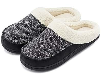 HomeTop Women's Comfort Memory Foam Slippers Fuzzy Wool Plush Slip-On Clog House Shoes w/Indoor & Outdoor Sole (Women 11-12(Aus), Black)