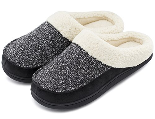Women's Comfort Memory Foam Slippers Fuzzy Wool Plush Slip-On Clog House Shoes w/Indoor & Outdoor Sole (Large / 9-10 B(M) US, Neutral Black) by HomeTop