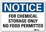 "SmartSign by Lyle U5-1234-RD_7X5 ""NOTICE FOR CHEMICAL STORAGE ONLY NO FOOD PERMITTED"" Reflective Self-Adhesive Decal, 7"" x5"""