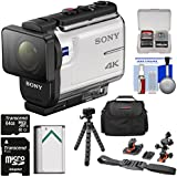 Sony Action Cam FDR-X3000 Wi-Fi GPS 4K HD Video Camera Camcorder Flat Surface & Helmet Mounts + 64GB Card + Battery + Case + Flex Tripod + Kit