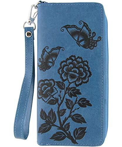 LAVISHY Peony Flower Butterfly Embossed Vegan/Faux Leather Large Wristlet Wallet