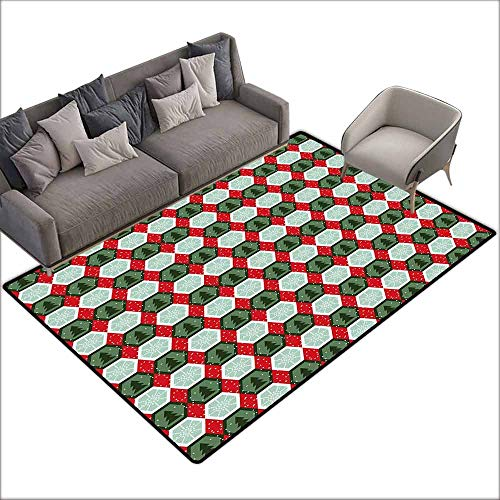 - Multi-USE Floor MAT Geometric,Hexagon Shapes with Snowflake and Pine Tree Design Winter Themed,Reseda and Hunter Green Red 60