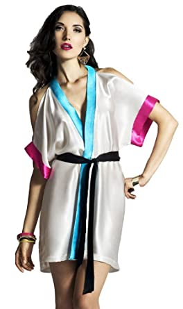 Turquoise silk robe