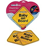 """Secure Tots Magnetic """"Baby on Board"""" Car Signs (2 pack) (Yellow)"""