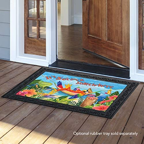 Briarwood Lane 5 O clock Parrot Summer Doormat Tropical Beach Humor 18 x 30 Indoor Outdoor