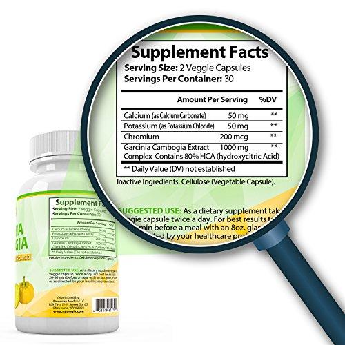 Natrogix Pure Garcinia Cambogia w/ 80% HCA (Hydroxycitric Acid) Complex All Natural Appetite Suppressant, Weight Loss Supplement Formula (60 Veggie Capsules)