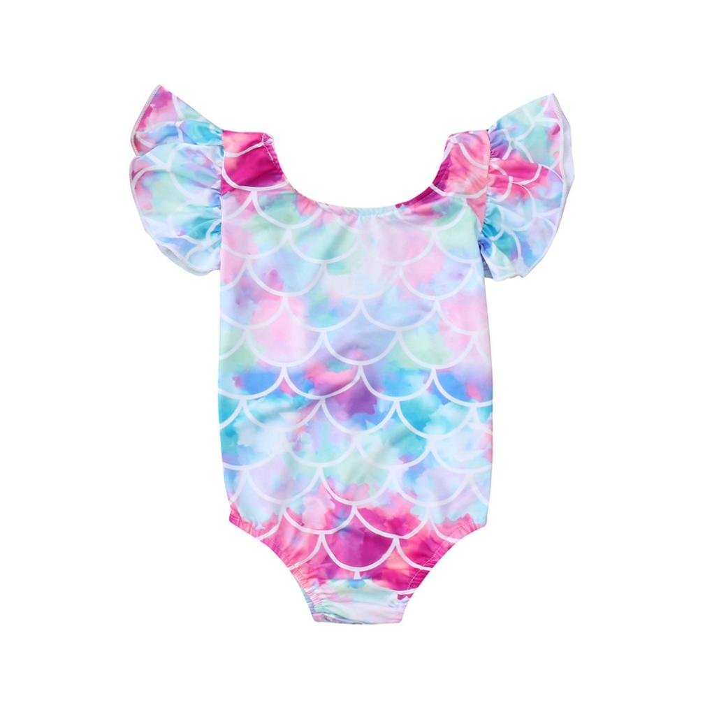 wuayi Cute Kids Baby Girls Swimsuit Fish Scales Mermaid Bikini Swimwear