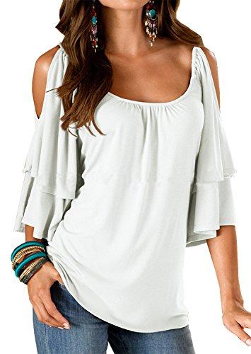Epaule Bateau Chemiser Jumpers Courte Pull Top Volant Asymetrique Blouse Tunique Haut Chemise Chic Mode Sweatshirt Denudee T Shirt Lace Manche de Uni Ete Femme Col a en Sexy Couleur Casual Blanc Shirt dCqnv