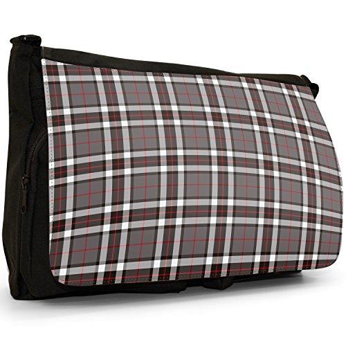 Tartan Tartan Colourful Bag Bag Canvas Large Shoulder Messenger Black Checked Laptop amp; School Black Designs White SwcdqZRd