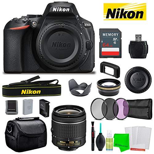 Nikon D5600 24.2MP DSLR Camera AF-P DX 18-55mm Lens Kit + Bag + Battery + SD Card + Accessories Vlogger Mid-Range Bundle