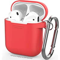 Airpods Case, AIKER Protective Airpods Cover Soft Silicone Chargeable Headphone Case with Anti-Lost Carabiner for Apple Airpods Charging Case (Red)