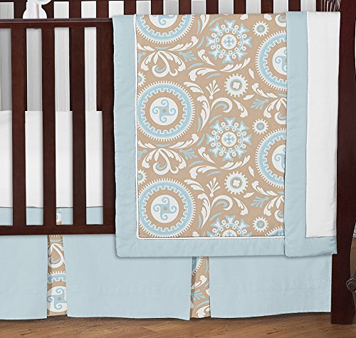 Blue and Taupe Hayden Gender Neutral Baby Bedding 11pc Girl or Boy Crib Set without bumper by Sweet Jojo Designs (Image #1)