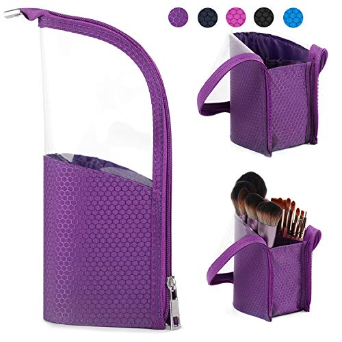 (Makeup Brush Bag Travel Brushes Case Pouch Organizer Holder Dustproof for Women and Girls (Purple))