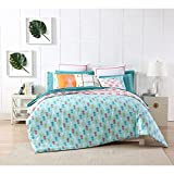 3 Piece Girls Aqua Blue Pink Yellow Pineapple Theme Duvet Cover King Set, Funky Stylish All Over Hawaiian Pine Apple Bedding, Hawaii Fruit Themed Reversible Flamingo Pattern, White Red