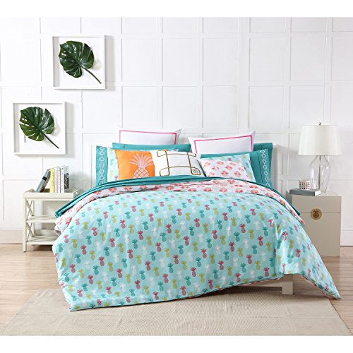 3 Piece Girls Aqua Blue Pink Yellow Pineapple Theme Duvet Cover King Set, Funky Stylish All Over Hawaiian Pine Apple Bedding, Hawaii Fruit Themed Reversible Flamingo Pattern, White Red by D&H