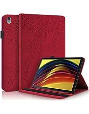 CRABOT Verenigbaar iPad Pro 11 Inch 2020&iPad Pro 11 Inch 2018 Tablet Case Hoes Met kaartsleuf Portemonnee Automatisch Slapen/Wakker Worden Boom van leven -Rood