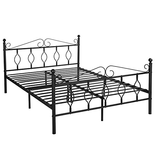 GreenForest Queen Bed Frame Metal Platform Complete Bed with Vintage Headboard and Footboard Box Spring Replacement Steel Bed Frame, Matte Black Queen ()