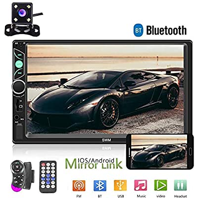 Double Din Car Stereo Radio 7'' HD Touch Screen Car Audio Bluetooth FM Radio USB Car Audio Video Player Support Phone Mirror Link + Car Backup Camera and Steering Wheel Control: Car Electronics