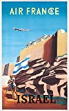 Air France - Israel Vintage Poster (artist: Renluc) France c. 1949 (16x24 Giclee Gallery Print, Wall Decor Travel Poster)