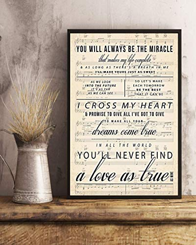 kalistamao Wall Art-I Cross My Heart Lyrics2 Portrait Poster Print for Home、Office and Cafe 18x12in with Frame ()