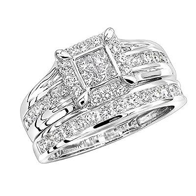 14K Rose, White or Yellow Gold Engagement Ring & Wedding Band Diamond Bridal Ring Set 1ctw by Luxurman