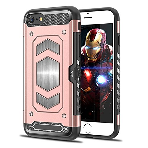 iPhone 6S 6 Case,iPhone 6 Case,Heima Slim Armor Shockproof Heavy Duty Protection Dual Layer TPU&PC Hybrid Case Cover Card Holder&Magnet Metal Plate iPhone 6S / iPhone 6 (HY Series-Rose Gold)